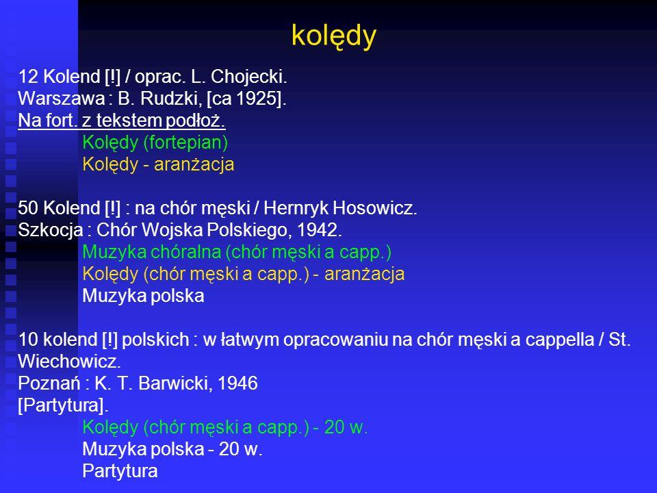 kolędy 12 Kolend [!] / oprac. L. Chojecki.